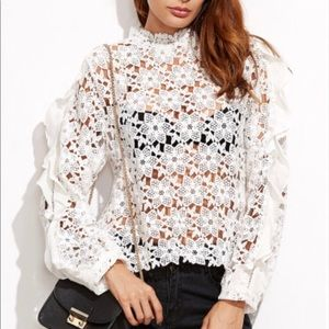 Tops - Self portrait inspired Hollow out lace blouse